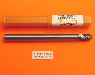 8 Mm .315 4 Flute Carbide Ball End Mill Micro 100 Hmbm-080-4x Usa New 3.9 Long