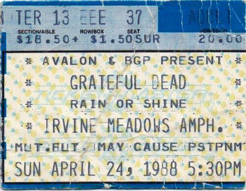 GRATEFUL DEAD TICKET STUB   04-24-1988  IRVINE MEADOWS AMPITHEATRE