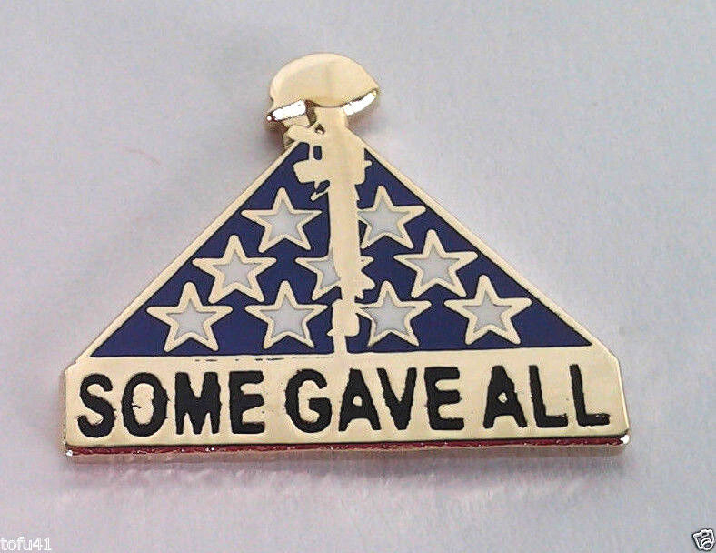 """SOME GAVE ALL MEMORIAL FLAG / RIFLE  (1"""") Military Hero Hat Pin P64884 EE"""