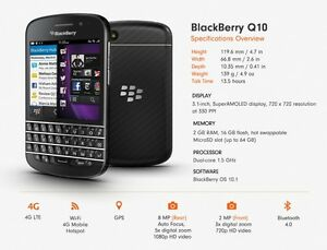 MINT!!! BLACKBERRY Q10 + 3 MONTHS WARRANTY