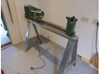 Wood Turning Lathe Ferm FHB940 complete with tools and custom stand, woodworking