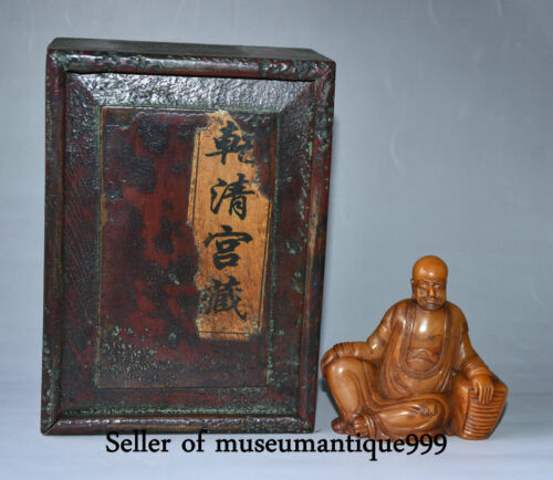 18CM Collect Old China Shoushan Stone Wood Luohan Arhat Buddha Statue Box Set