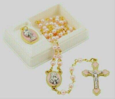 NEW MADE IN ITALY PINK PEARL BEAD GIRL'S FIRST COMMUNION ROSARY GIFT SET