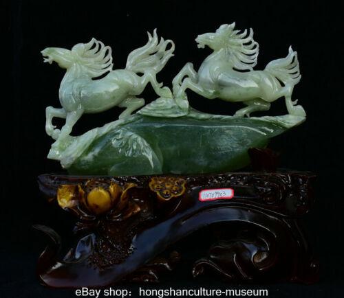 "14"" Natural Green Xiu Jade Jadeite Carved Running Horse Steed Animal Sculpture"