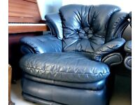 Real Leather Luxury Sofa and Two Armchairs