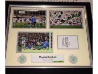 Celtic FC Dembele Hat Trick v Rangers Framed Rare Hand Signed Photo