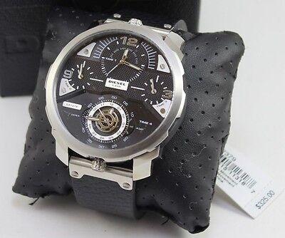 New Authentic Diesel Machinus Daddy Four Time Zone Silver Black Men Dz7379 Watch