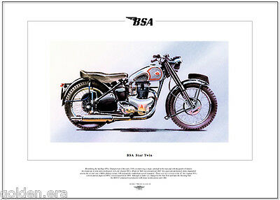 BSA STAR TWIN  Classic Motorcycle Fine Art Print - Model A7 500cc twin motorbike