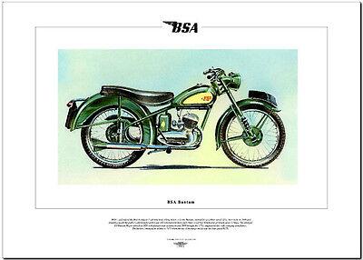 BSA BANTAM - Motorcycle Fine Art Print - 2-Stroke single 125cc & 175cc Motorbike