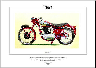 BSA B31 - Motorcycle Fine Art Print - 350cc Single OHV - motorbike picture image