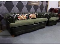 Fantastic Unique Chesterfield 3 Seater Sofa & Chair Green Leather Suite - Uk Delivery