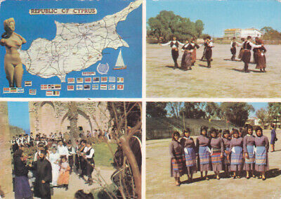 CYPRUS POSTCARD FOLK DANCING GROUP IN GSE GROUND FAMAGUSTA SOTERIOU EARLY 1960 S