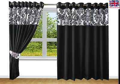 RING TOP FULLY LINED PAIR EYELET READY MADE CURTAINS BAROQUE ...