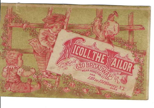 AM-055 NY, New York, Nicoll the Tailor Advertising Trade Card, Three Children