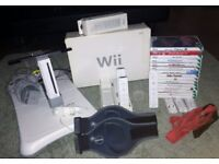 Nintendo Wii Bundle, White Console, Wii Fit Board, Docking Station & 19 Games