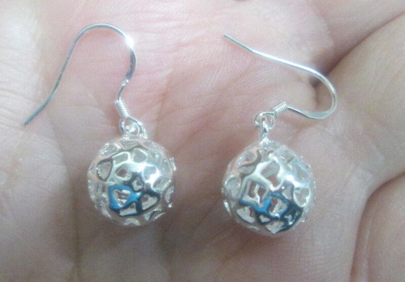 Sterling Silver Dangling Ball Earrings