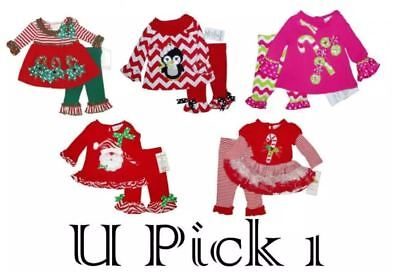 Pink Christmas 2 Piece Outfit Set Dress Leggings Holiday Baby Little Girls Top