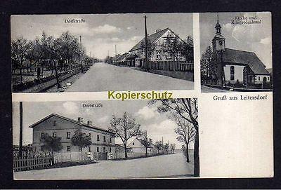 115708 AK Leitersdorf Neumark Kreis Crossen Dorfstraße 1936 Kirche Kriegerdenkma