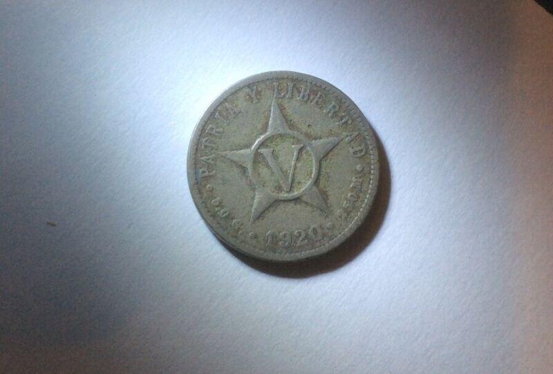 1920 Republic Of Cuba Coin 250M Patria Y Libert AD Cinco Centavos