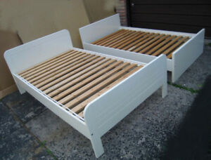 "$150 EACH  2 white 47"" Wide Single or Small Double Beds w/slats"