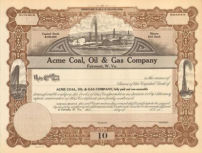 Acme Coal Oil & Gas Company > Fairmont West Virginia stock certificate