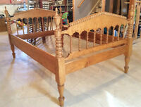 Antique Birdseye Maple Spool Bed