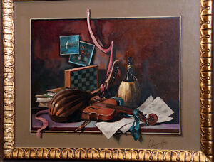 Original Oil Painting Depicting Wine, Games & Music