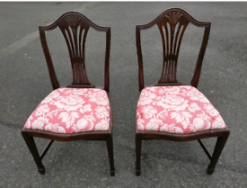 Two old dining chairs + FREE upholstery fabric