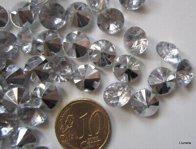 Cristal facetado diamante 9,6 mm transparente X 16 UNIDADES acrílico para pegar