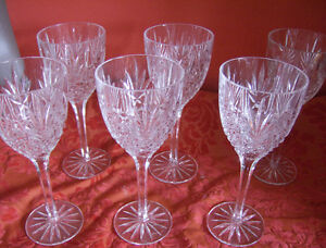 6 Crytal Water Goblets or large Wine glasses