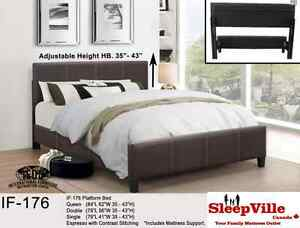 QUEEN PLATFORM BED/ESPRESSO/ BLACK/WHITE FREE DELIVERY