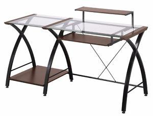 bureau en vitre et bois  très bonne condition (90$)