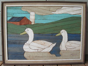 Degroot Wood Country Lath Art Duck Picture