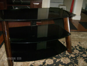3 TIERED GLASS AND WOOD TV STAND