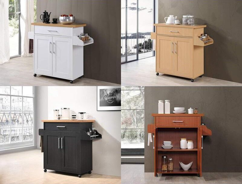 Details about Small Kitchen Island Cart Rolling Mobile Utility Storage  Portable Cabinet Table