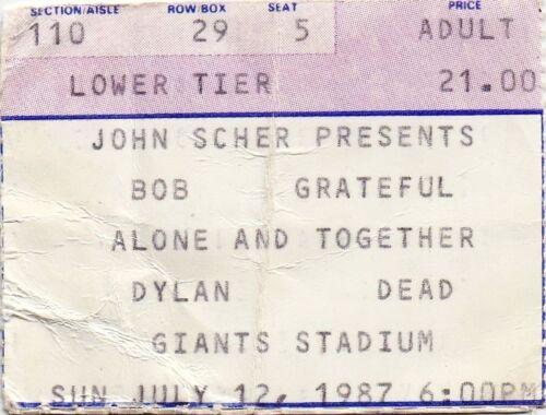 GRATEFUL DEAD TICKET STUB   07-12-1987   GIANTS STADIUM WITH BOB DYLAN
