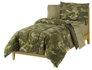 NEW Camo Camouflage Army Green Boy Bedding Kid Comforter Sheet Set Twin