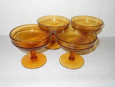 Amber Ice Glass Bowl - Amber Pedestal Glass Ice Cream Bowl Set of 4
