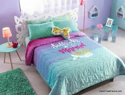 Twin Girls Gift - MERMAID GOLD Comforter Reversible Bedding Teens Girls TWIN Gift Decoration 3PC *