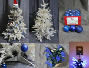 White Christmas Miniature Tree with Blue Decorations & Lights