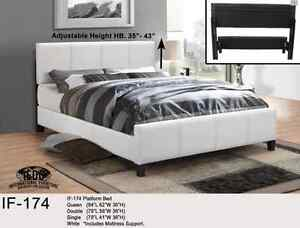 DELUXE PLATFORM QUEEN BED Espresso or White /FREE DELIVERY