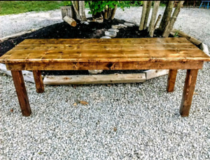 Live Edge Solid Wood Spruce Table + 6 Wood Chairs