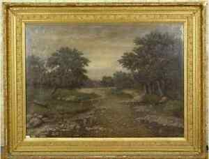 GRAND RIVER Ontario Canada OLD OIL PAINTING 1800's