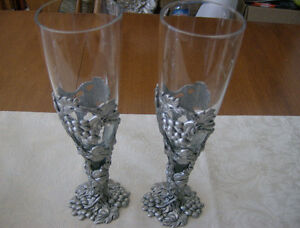 Pair of signed Seagull Pewter Pilsner/ Champagne Flute