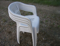 4 white plastic stacking chairs-all for $30.00