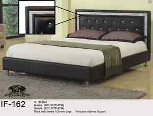 QUEEN PLATFORM BED - Jewel/Crystal/Chrome Legs - FREE DELIVERY