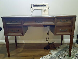 Sewing machine and desk