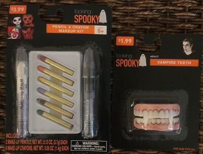 Looking Spooky Pencil Crayon Makeup Kit + Adult Vampire Teeth Costume Halloween