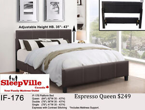 QUEEN PLATFORM BED/ 3 colours FREE SAME DAY DELIVERY & SETUP