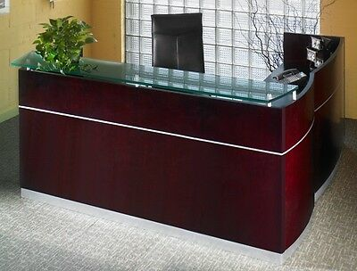 Mayline Wood Veneer Napoli L-Shape Reception Desk w/ Frosted Glass Counter